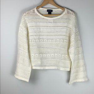 Nordstrom CENY Open Knit Crochet boho knit Top